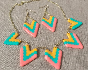 Tribal Chevron Statement Necklace and Earrings