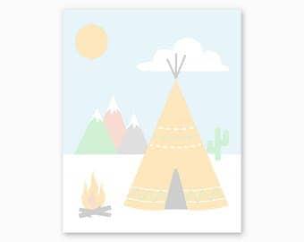 TRIBAL WALL ART, Tribal Printable, Native Art, Teepee, Boho Nursery, Girl Nursery, Tribal Nursery Decor, Southwest Nursery, Digital Download