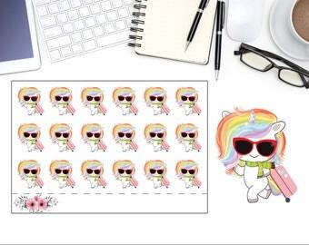 Cute Unicorn Traveling Sticker, Unicorn Planner Stickers, Rainbow Unicorn Sticker, Scrapbook Sticker, Planner Accessory - 18 Stickers