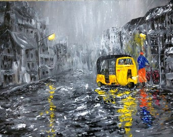 Street scene at night painting - Rickshaw painting - car painting - wet road painting -  rainy night - night city - gift for her - wet road