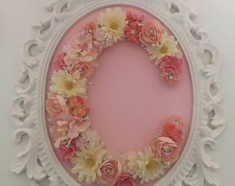 Nursery flower letter with ornate frame