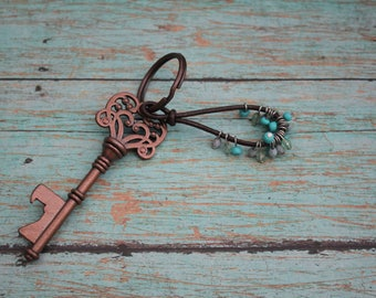 Copper Skeleton Key That Acts As A Bottle Opener Key Ring