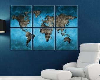 Blue World map canvasHome decor Canvas wall art world map Canvas World map Wall Art Canvas Print Wall decor Art canvas Travel world map