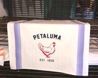 Luma Vintage Petaluma Chicken Tea Towel Green and Teal Striped