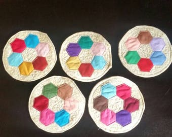 Set of 5 quilted fabric coasters