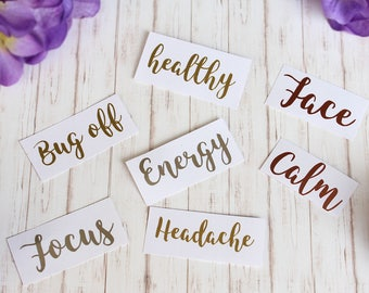 Essential Oil Roller Labels, 10ml, Vinyl, Chrome, Decals, Stickers, Rollerball Labels