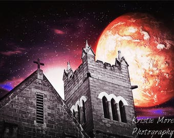Church bell tower Print, Galaxy, Haunted church, Fantasy