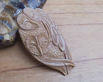 Owl Group Bone Pendant in Brown Color, Bali Bone Carving Jewelry P191 -2