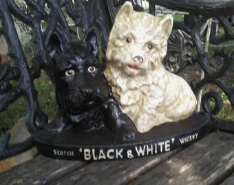 Scotch 'Black & White' Whiskey Dogs Door Stopper- Cast Iron