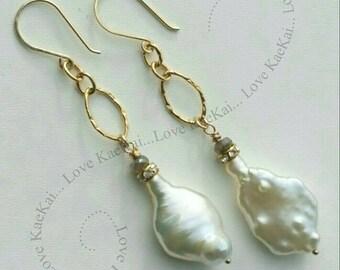 Natural freshwater Baroque Pearl earrings