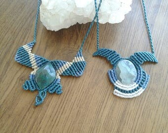 With Onyx sky and chrysocolla macrame necklaces