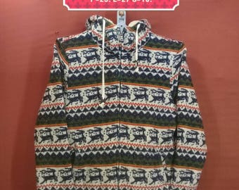 Vintage Ugiz Hooded Sweater Jungle Emo Deer Abstrak Patterned Sweatshirts Green White Colour Hand Knitted Shirts Issey Miyake