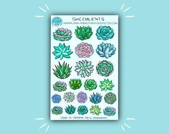 Succulents | Succulent Planner Stickers | Bullet Journal Stickers | Supplies for Bullet Journaling | Stickers | Sticker Kits | Sticker Sets