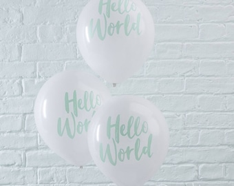 Hello World Balloons, Baby Shower, Party Balloons, Baby Shower Balloons, Baby Shower Decorations, White Balloons
