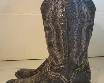 J.B. Dillon Womens Size 9 Leather Black Cowboy/Cowgirl Boots