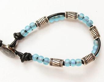 Black Leather Beaded Bracelet // womens boho leather bracelet // bohemian blue seed bead leather wrap bracelet // metal bead jewelry gift