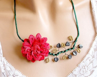 Red Peony and green satin Flower necklace