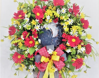 Rooster Wreath, Farmhouse Wreath, Red Wreath, Red Spring Wreath, Front Door Wreath, Daisy Wreath, Country Wreath