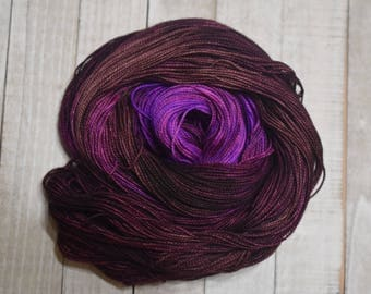 Hand-dyed, sock weight yarn, 100% merino wool, 2-ply, 400yds, colorway: *Grapevine*