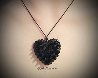 Black Spiked Heart Pendant Necklace