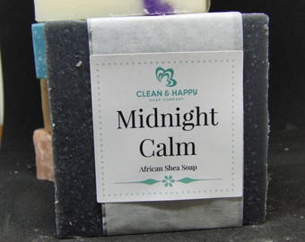 """Handmade Soap """"Midnight Calm"""" Black Shea Butter and charcoal Soap by Clean & Happy (1 bar of soap)"""
