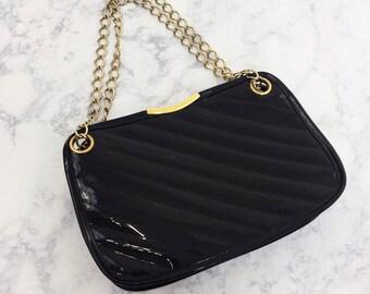 Vintage 80's Gold Chain Black Faux Patent Leather Purse