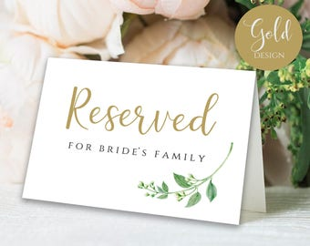 Gold Reserved Sign Reserved Printable Reserved Wedding Sign Reserved Table Sign Wedding Printable Wedding Templates PDF Instant Download
