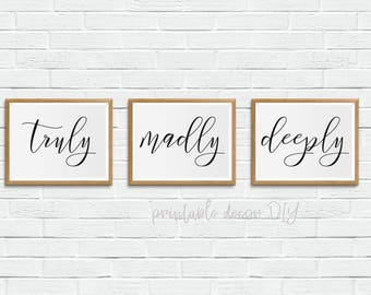 truly madly deeply printable, above bed decor, printable bed room wall art, printable bedroom poster, above the bed decor, above the bed art