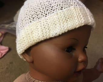 Off-White Hand-Knitted Baby Beanie