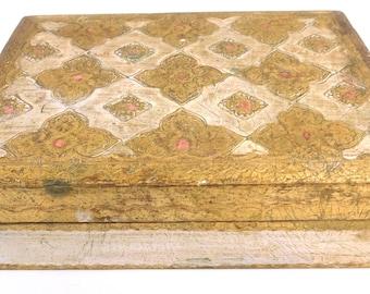 Vintage FLORENNA Wood Gold Gilt Box w/ Mirror- Italy, Jewelry Trinket Box
