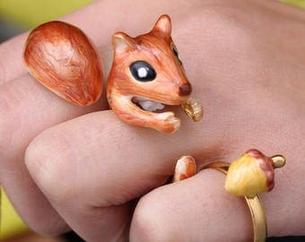 Handmade Enamel 3x Piece Red Squirrel Ring, Squirrel Body, Tail and Pine Nut Set