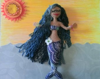 Mermaid handmade, felt, yarn, attached thread for hanging.