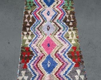 Vintage Boucherouite runner 70x188cm Berber carpet fringes from Morocco