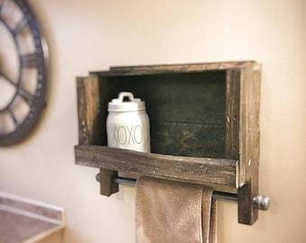 Rustic Shelf With Towel Rack