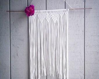"Ivory fringe macrame wall hanging with flower 31"" long"