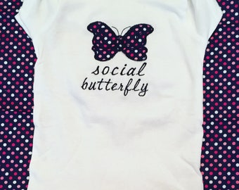 Social butterfly applique bodysuit tshirt Bib Burp cloth