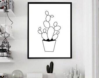 Geometric cactus printed canvas (black & white)