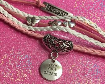 Live Your Dream Positive Inspirational Charm Bracelet