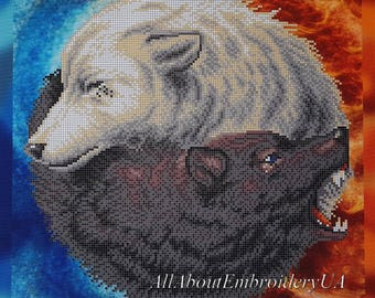 Bead embroidery DIY kit Wolflike Yin Yang beaded cross stitch pattern Two Wolves needlepoint Wildlife Animal gift idea Grey and White Wolves