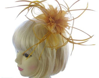 Gold organza fascinator headband for Ascot, Races, Ladies day