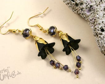 Earrings - black flowers, Lucite flowers, vintage, elegant, filigree, glass beads, purple, gold, unique, handmade
