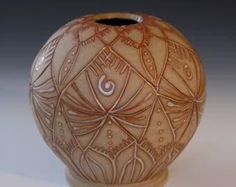 glaze-inlay stoneware vase