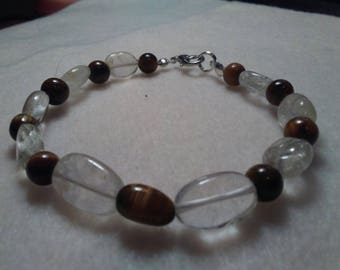 Quartz Citrine and Tiger Eye Beaded bracelet