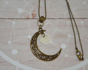 Necklace Style boho Chic, boho necklace, gift for her, Moon pendant