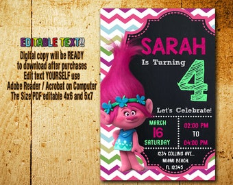 Trolls Invitation,Trolls Birthday,Trolls Party,Trolls Card,Trolls Printable,Trolls Editable,Trolls,Trolls Disney Invitation,Disney_BF002