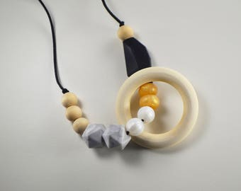 Abstract BPA free teething stem enterprise necklace