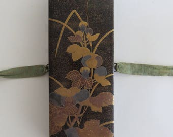 Gorgeous Lacquered Japanese Calligraphy Box