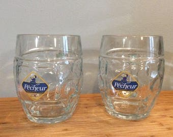 Pair of Austrian Glass Advertising Beer Mugs, 1/2 Liter Beer Steins, 'Pêcheur' Advertising Beer Glass