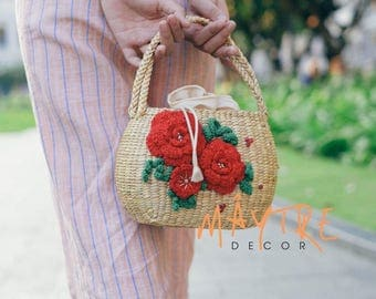 Red Rose top handle bag