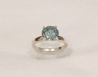HUGE 1.90 Ct VVS1 Round Solitaire Light Green Moissanite .925 Sterling Silver Diamond Simulant Engagement Ring Size 6